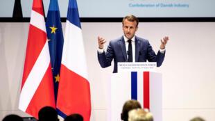 圖為法國總統馬克龍2018年8月29日國事訪問丹麥