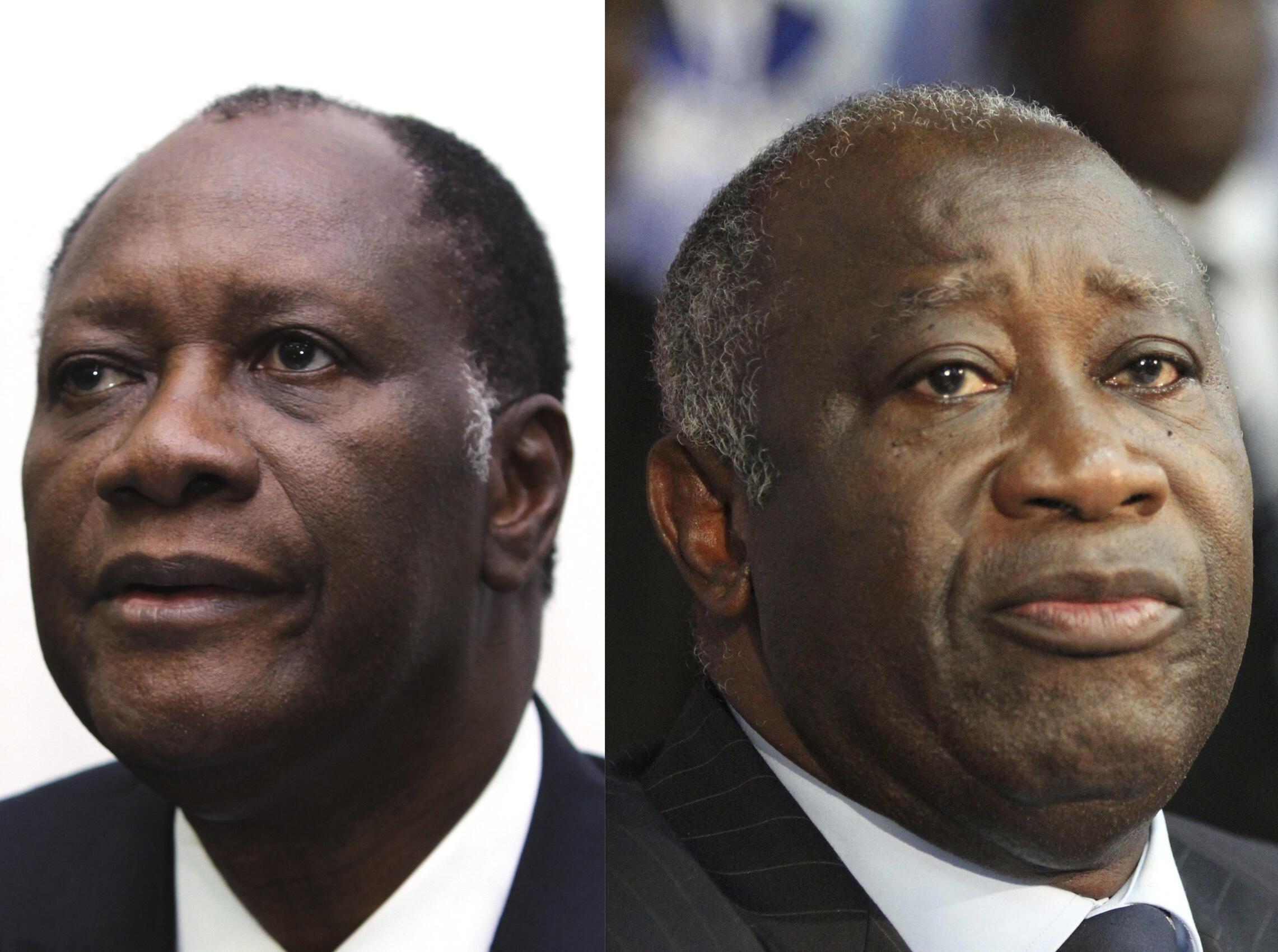 L'actuel chef d'État de Côte d'Ivoire Alassane Ouattara (G) et  l'ex-président Laurent Gbagbo (D).