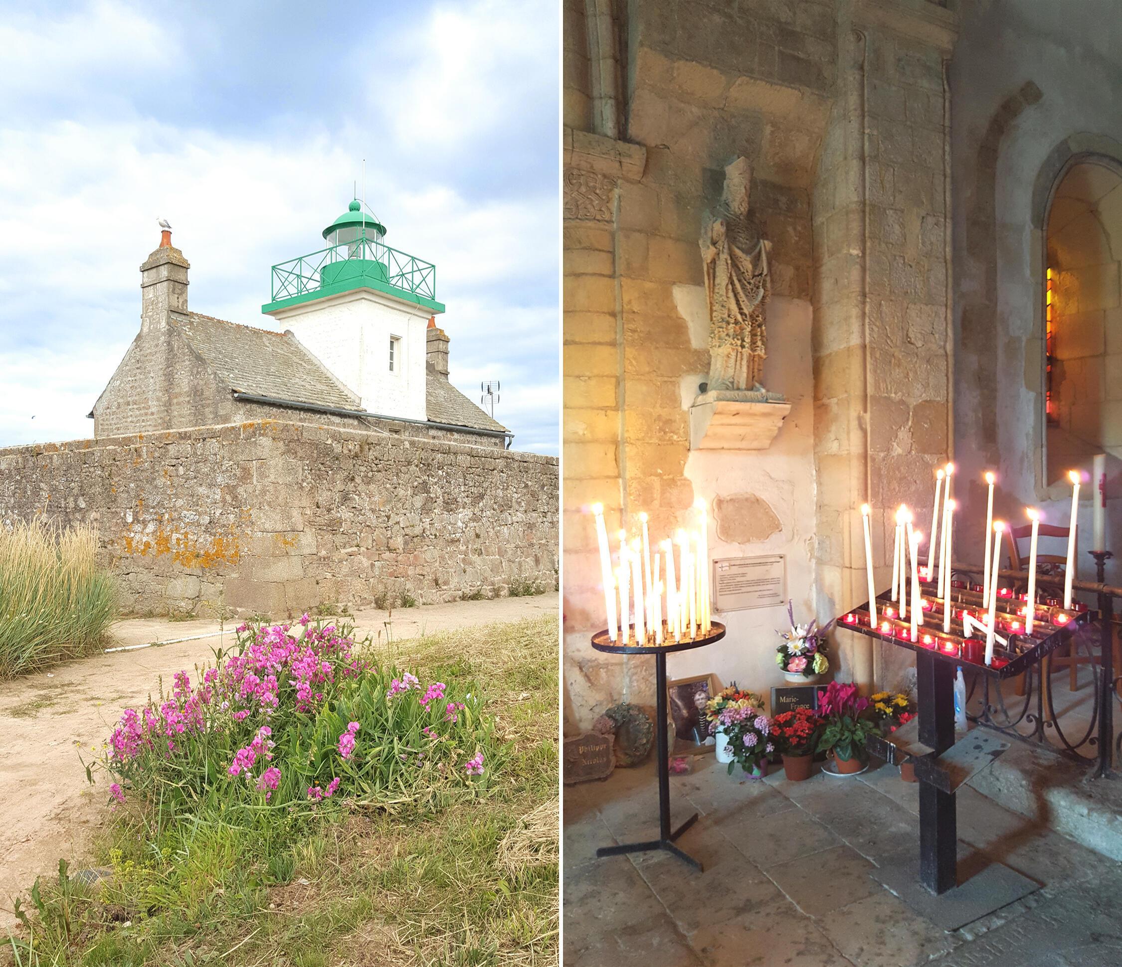 """Ngôi nhà hải đăng (trái) và """"La Chapelle des Marins"""" (phải) nhà nguyện cầu an cho các ngư phủ còn giữ nguyên cung nhà thờ hình bán nguyệt với lối kiến trúc có từ thế kỷ 12"""