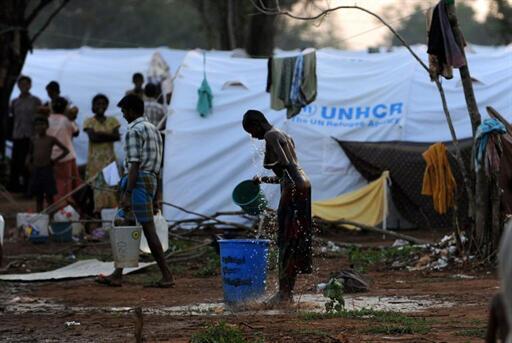 Camp de réfugiés de Menik Farm installé par l'ONU dans le district de Vavuniya, au nord du Sri Lanka.