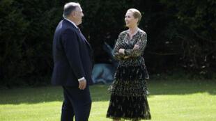 Secretário de Estado americano, Mike Pompeo e a primeira ministra da Dinamarca Mette Frederiksen