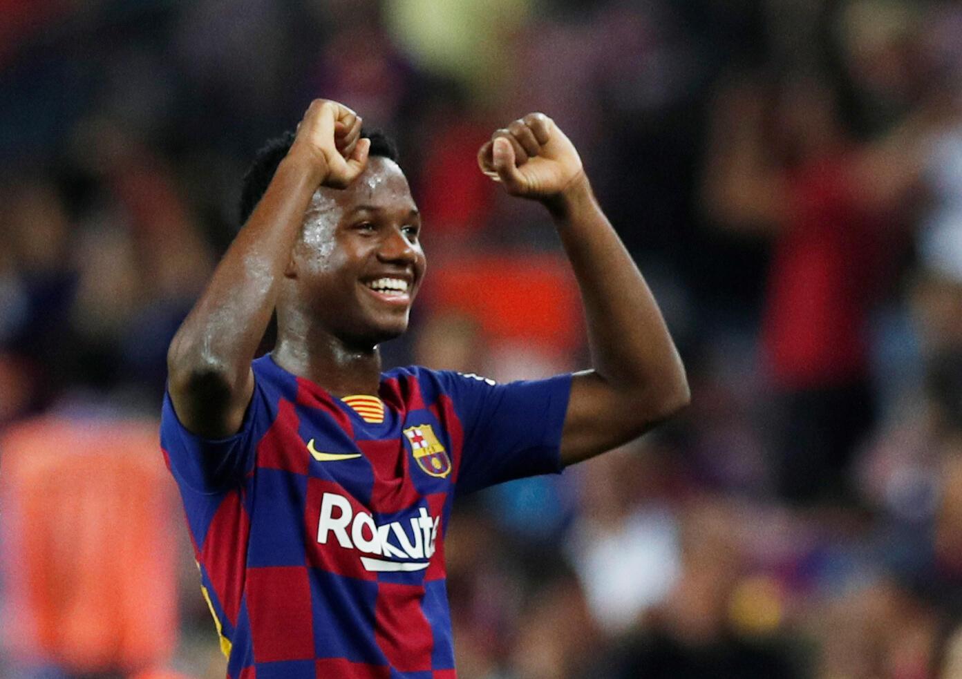 """Anssumane """"Ansu"""" Fati a fait ses débuts pros avec Barcelone contre le Betis Séville, le 25 août 2019."""