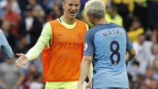 Manchester City's Joe Hart and Samir Nasri celebrate after the match Football Soccer Britain - Manchester City v West Ham United - Premier League - Etihad Stadium - 28/8/16