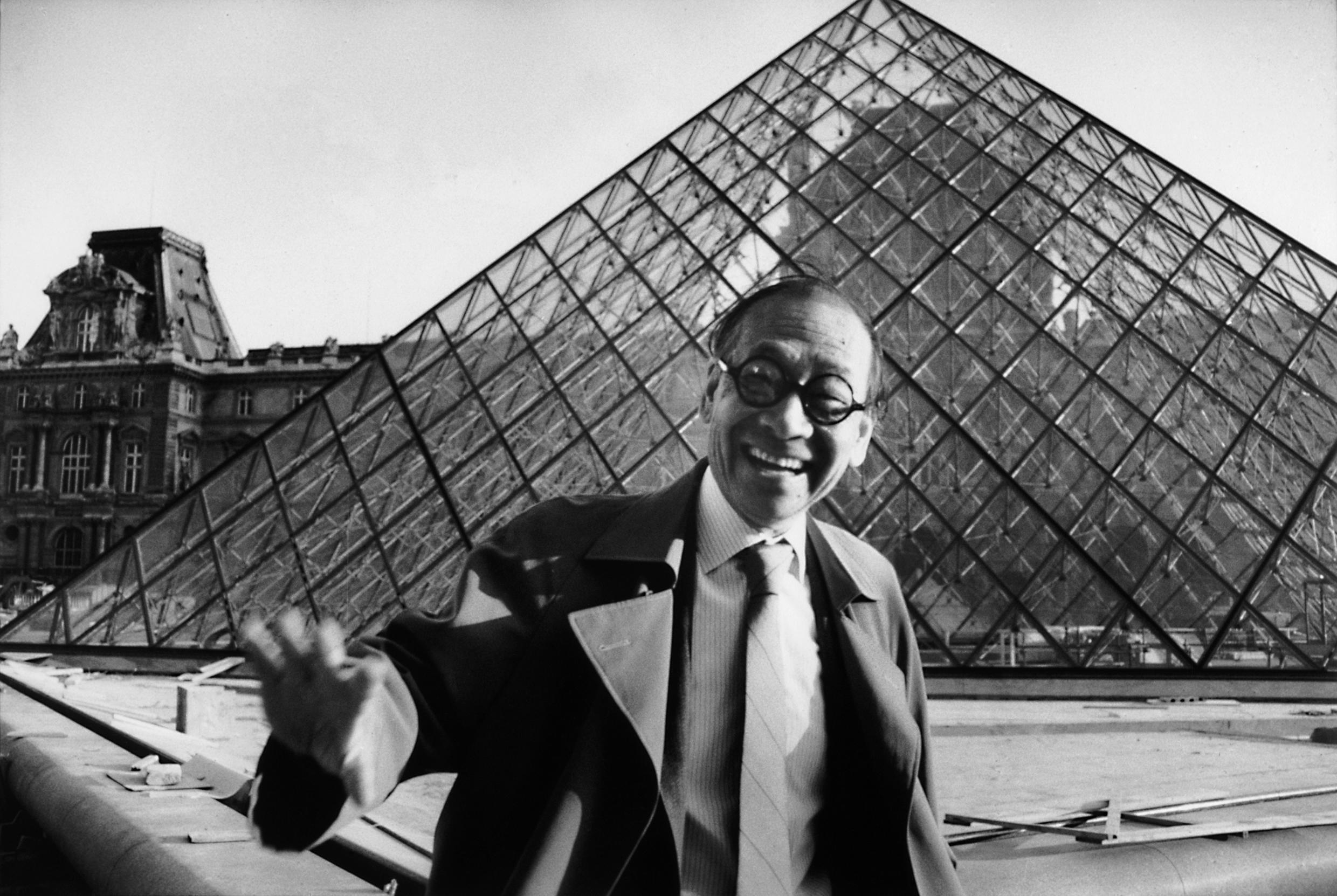 Chinese-American architect Ieoh Ming Pei in front of the Louvre Pyramid in Paris