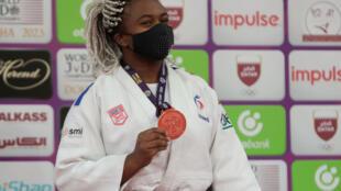 La judokate française Romane Dicko, victorieuse du Masters (catégorie +78 kg), le 13 janvier 2021 à Doha (Qatar)