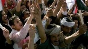 Biểu tình chống chính phủ Yemen tại Sanaa ngày 3/2/11.