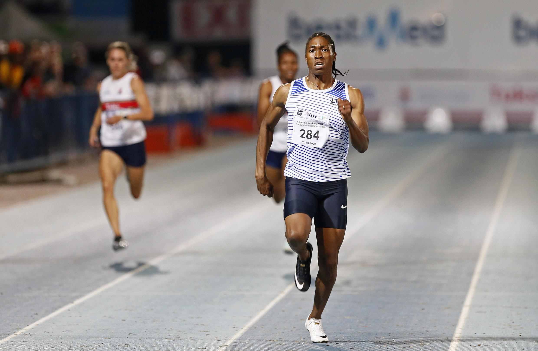 La Sud-Africaine Caster Semenya lors de la finale du 200 m au meeting de Gauteng-Nord, à Pretoria, le 13 mars 2020