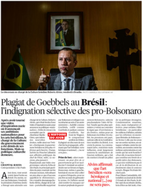 """Matéria publicada no jornal Libération desta segunda-feira, 20 de janeiro de 2020: """"Plágio de Goebbels no Brasil, a indignação seletiva dos pró-bolsonaros""""."""