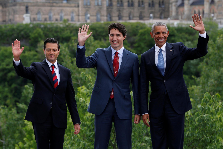 Os três presidentes da América do Norte, em encontro em Ottawa, Canadá.