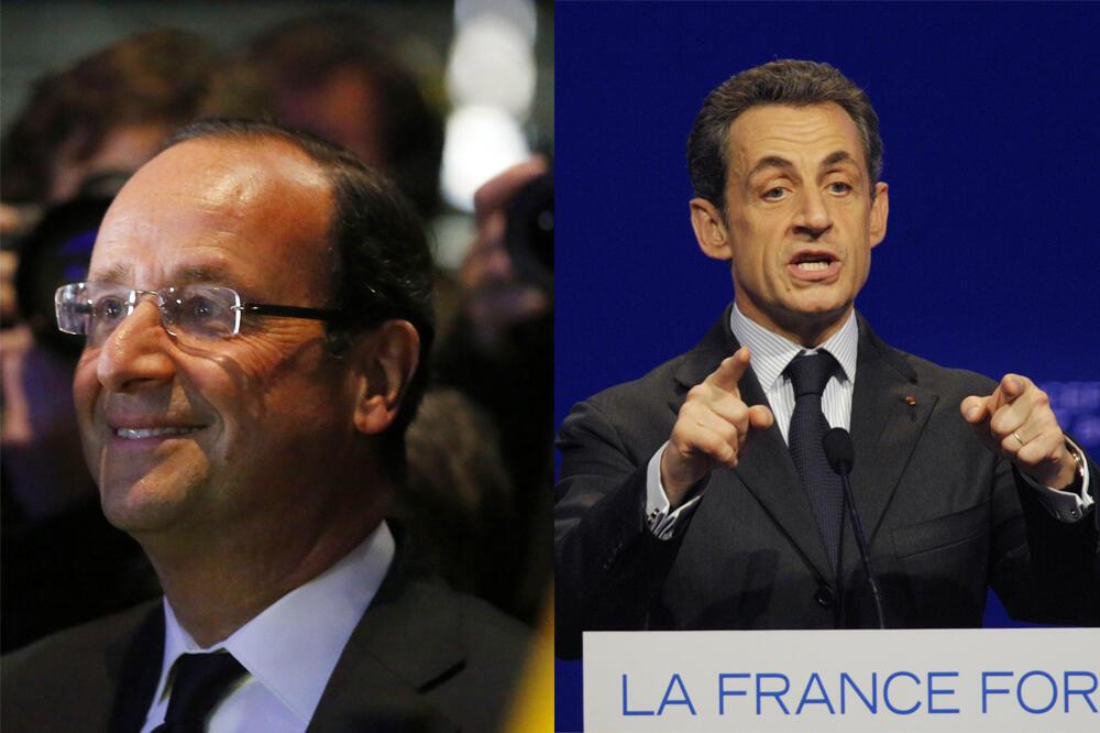 hoton da aka hada François Hollande yana murmushi  Nicolas Sarkozy yana jawabi a  à Dijon,