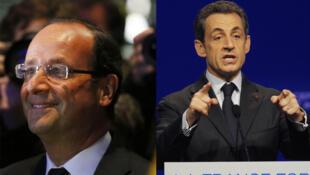 François Hollande e Nicolas Sarkozy em campanha durante o fim de semana.