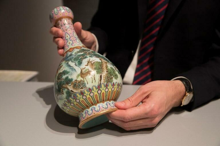 A rare Imperial Qianlong porcelain vase (18th century) is displayed at Sotheby's auction company in Paris.