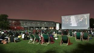 The open air cinema in full flow at the Paris parc de La Villette.