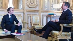法国总统马克龙2018年2月27日会见迪斯尼总裁鲍勃-艾格(Bob Iger)