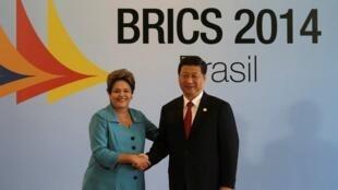 中國國家主席習近平和巴西總統羅塞夫(2014年7月15日)