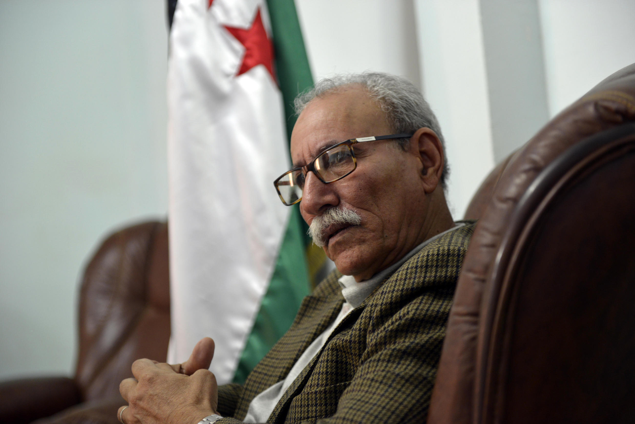 Brahim Ghali, Polisario leader, during interview with AFP, Algeria, 2017.