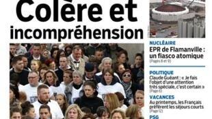 Capa do jornal Le Parisien, 17 de abril de 2015.