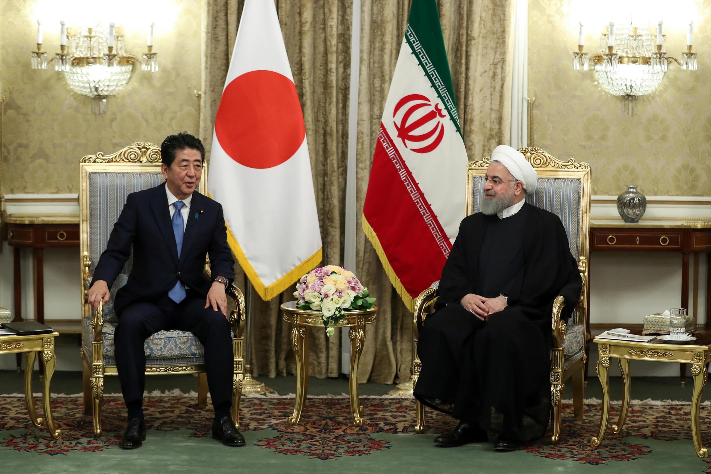 伊朗總統魯哈尼在德黑蘭會晤到訪的日本首相安倍 2019年6月12日