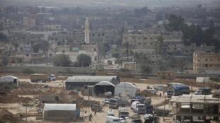 La frontière égyptienne et de Gaza est vue de Rafah, dans le sud de la bande de Gaza, le 10 février 2013