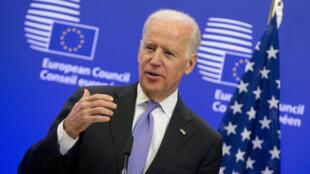 Joe Biden, le 6 février 2015, alors vice-président des États-Unis, en conférence au Conseil européen à Bruxelles.