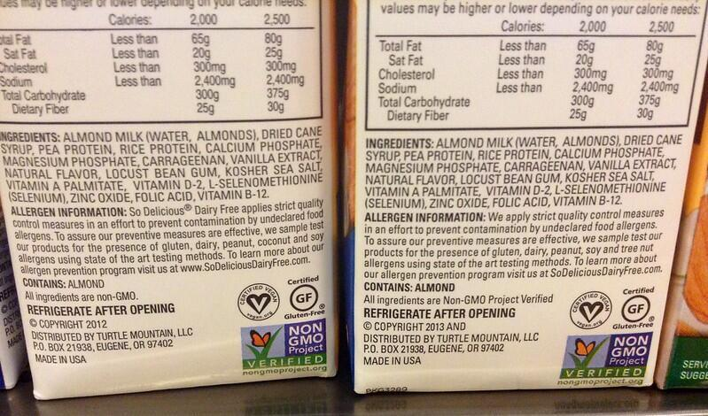 On this label you can see that after the almonds, cane sugar has been added.