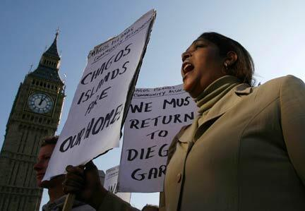 Demonstrator demanding her return to the Chagos archipelago protesting outside the Parliament in London