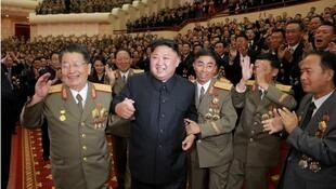 North Korean leader Kim Jong-un reacts during a celebration for nuclear scientists and engineers who contributed to a hydrogen bomb test, in this undated photo released by North Korea's Korean Central News Agency (KCNA) in Pyongyang on September 10, 2017