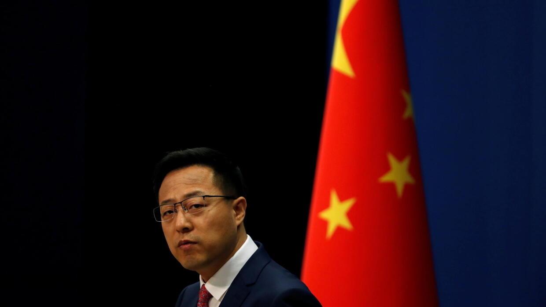 中国外交部发言人赵立坚。2020年4月8日摄于北京。
