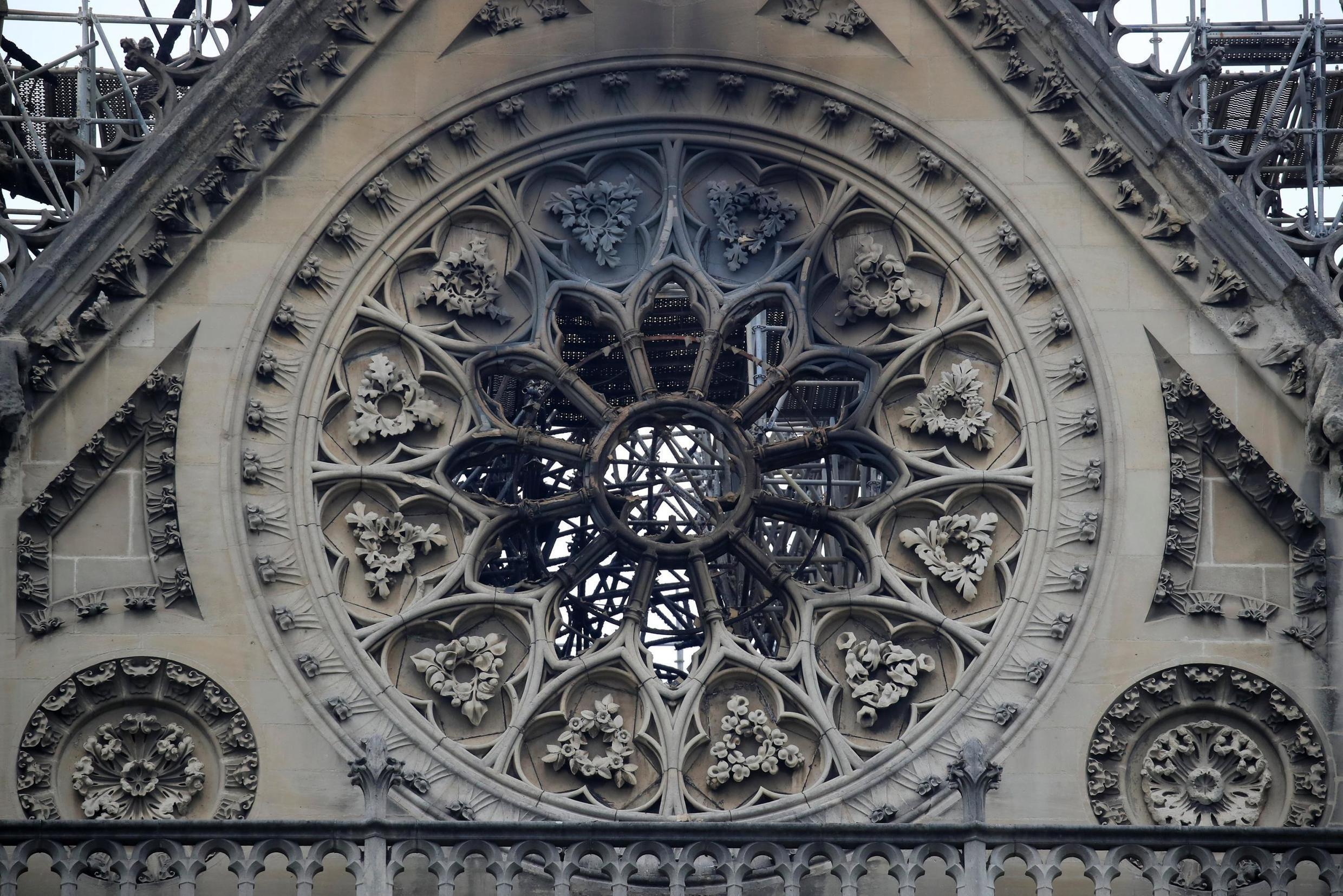 View of Notre-Dame Cathedral after a fire devastated large parts of the gothic gem in Paris, France April 16, 2019. A massive fire consumed the cathedral on Monday, gutting its roof and stunning France and the world.