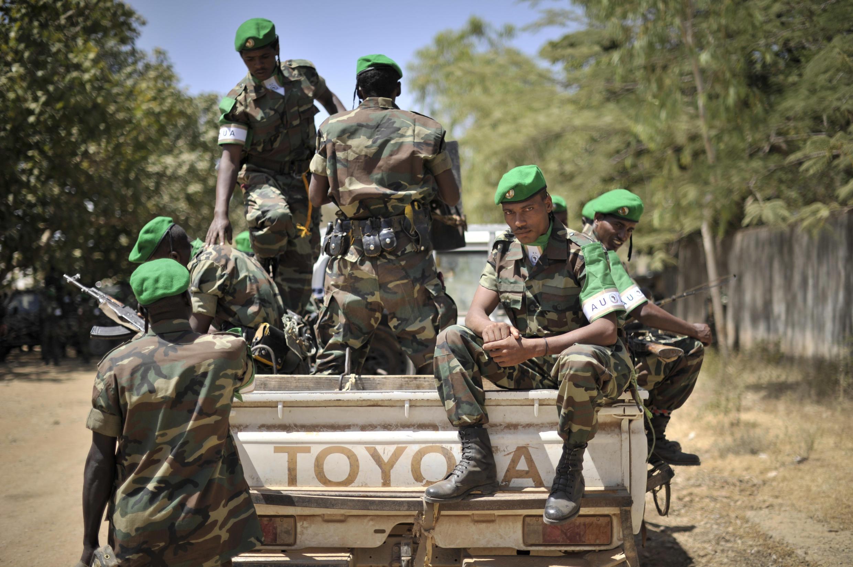 Des soldats éthiopiens de l'Amisom près de Baidoa.