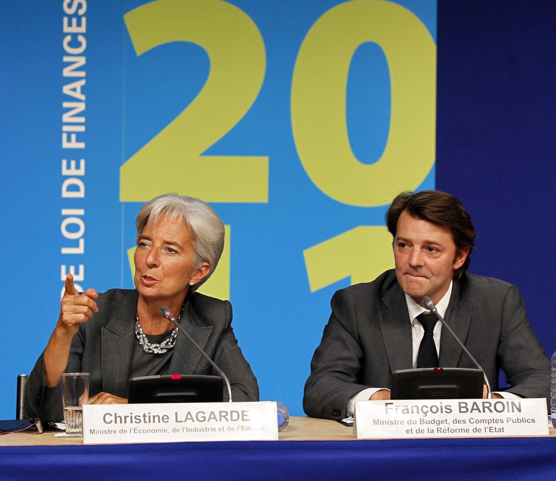 A ministra francesa das Finanças, Christine Lagarde, e o ministro do Planejamento, François Baroin, apresentaram o orçamento francês de 2011.
