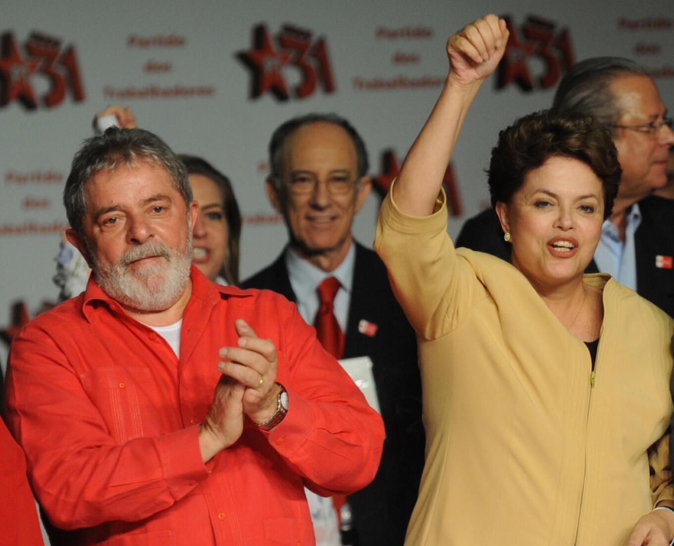 A presidenta Dilma Rousseff e o ex-presidente Lula participam das comemorações de aniversário de 31 anos do PT