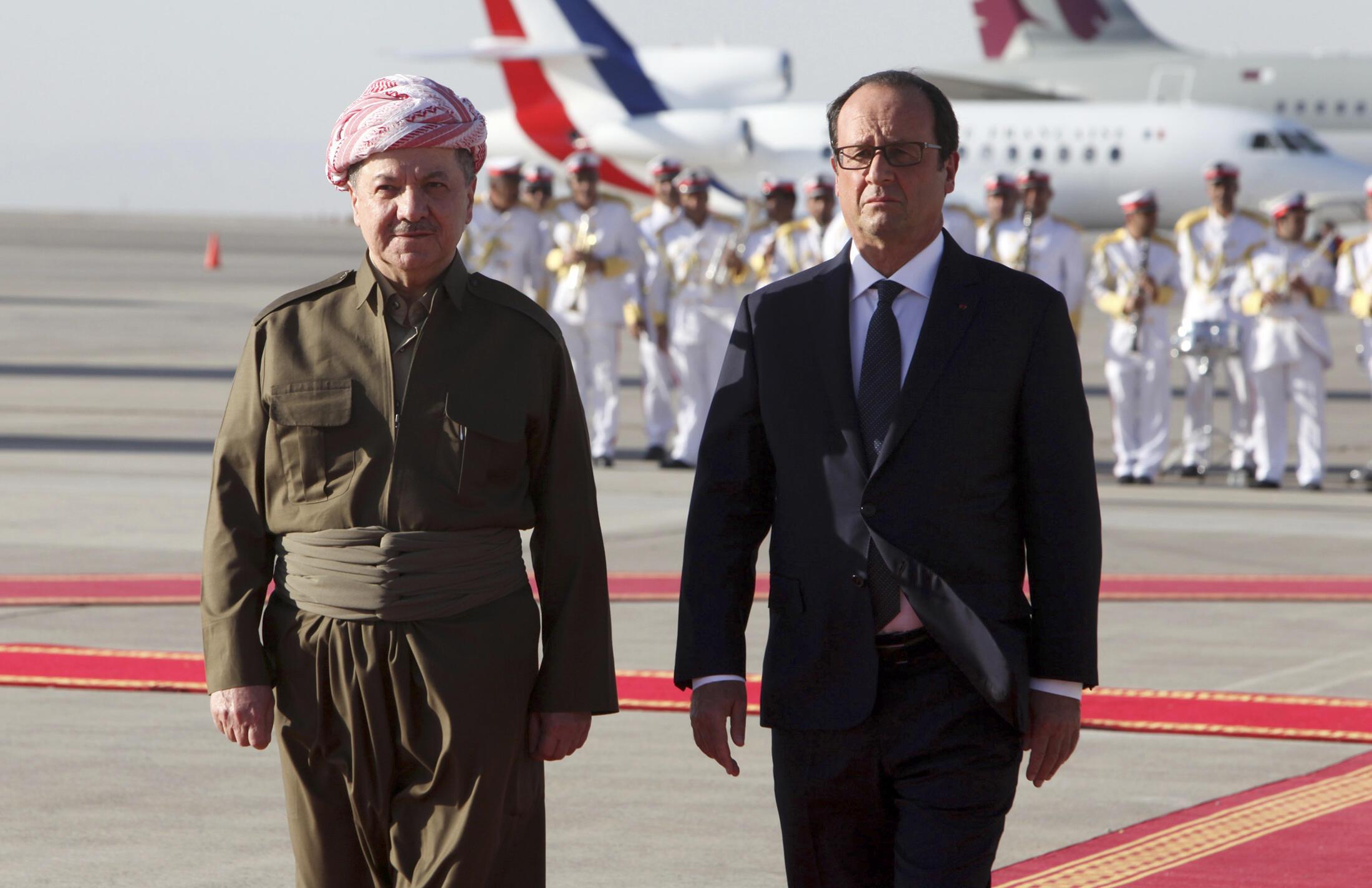 Президент Франсуа Олланд в Эрбиле с главой Иракского Курдистана Масудом Барзани 12 сентября 2014