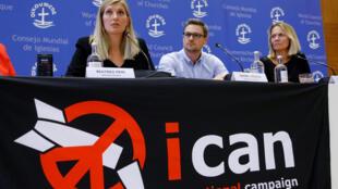 Le prix Nobel de la paix décerné à la Campagne internationale pour l'abolition des armes nucléaires. Conférence de presse à Genève, le 6 octobre 2017.