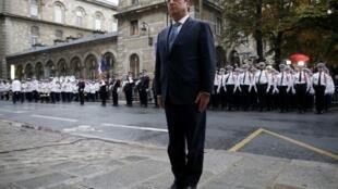 2014年8月25日,法国总统奥朗德在巴黎参加二战解放70周年纪念活动。