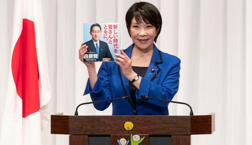 日本自民党政调会长高市早苗资料图片