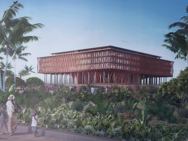 Vue sur un panneau d'information montrant le projet de Kéré Architecture.