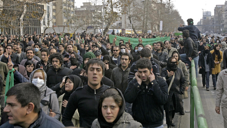 Les jeunes manifestants du mouvement vert dans les rues de Téhéran, le 27 décembre 2009.