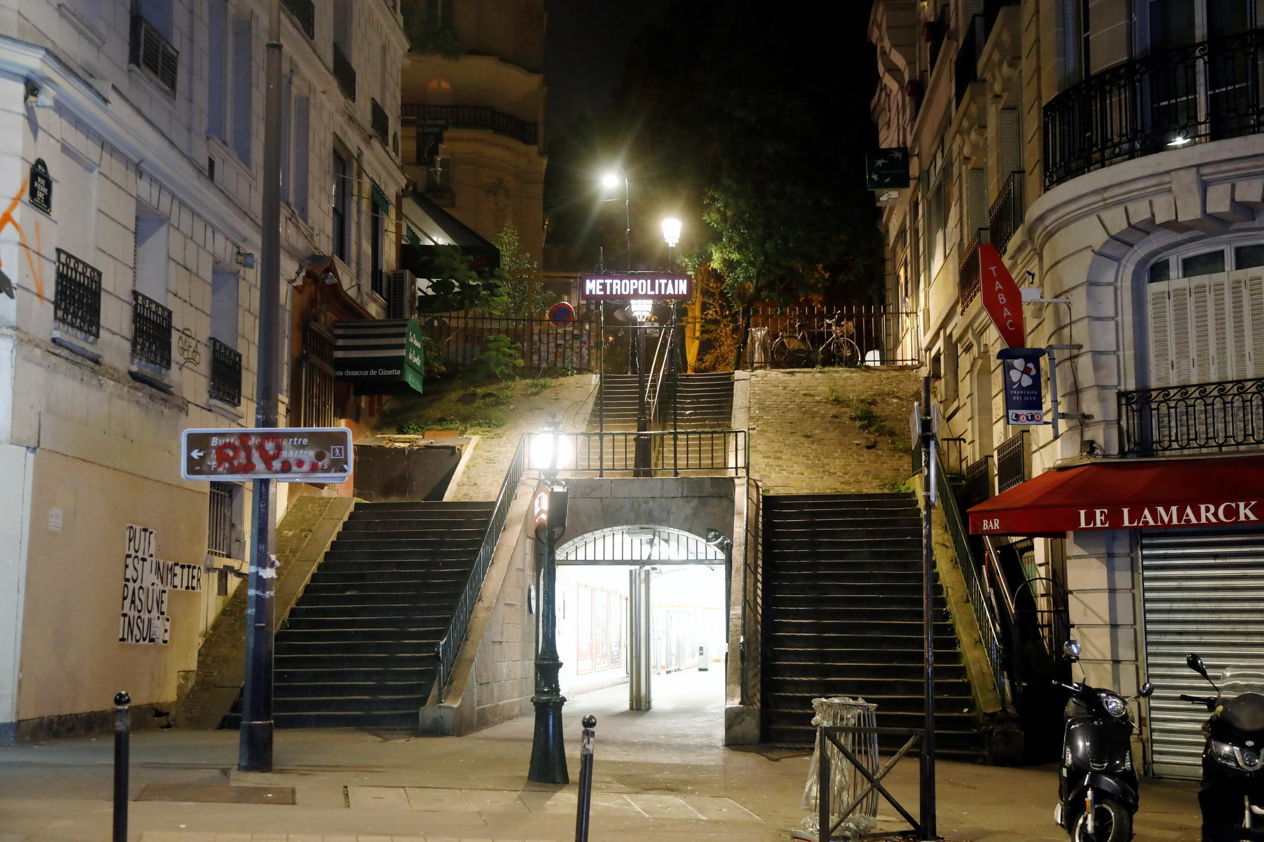 Empty streets in Montmartre during the late-night curfew imposed in Paris from 9pm to 6am starting on 17 October, 2020.