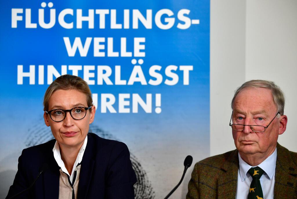 Los líderes del partido populista alemán AfD, Alexander Gauland y Alice Weidel, el 18 de septiembre de 2017 en Berlín.