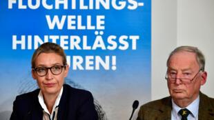 Les deux têtes de liste du parti populiste allemand, Alexander Gauland et Alice Weidel, le 18 septembre 2017 à Berlin.