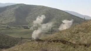Extrait d'une vidéo réalisée pendant les combats du 2 avril par le ministère de la Défense de la république autoproclamée du Haut-Karabagh.