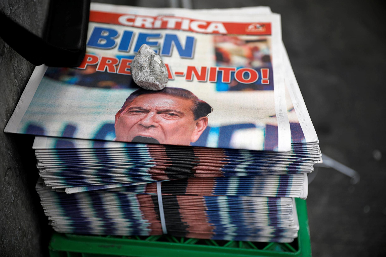Un diario panameño con la foto del presidente electo Laurentino Cortizo, 6 de mayo de 2019.