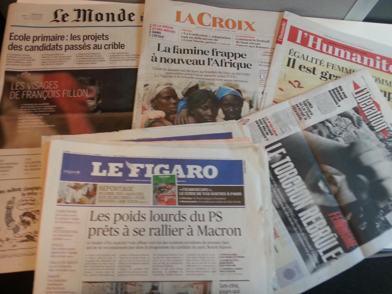 Primeiras páginas dos jornais franceses de 8 de março de 2017