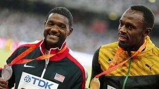 Justin Gatlin (left) will run at the Brussels Diamond League meeting without his nemesis Usain Bolt, who beat him over 100 and 200 metres at the world championships in Beijing.