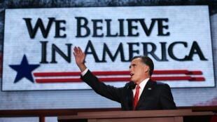 Mitt Romney, durante o discurso de aceitação de sua candidatura às eleições presidenciais de 6 de novembro. Tampa, 30 de agosto de 2012.
