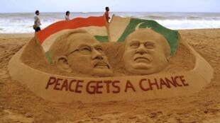 """""""Uma oportunidade para a paz"""" do artista Sundarshan Patnaik. Narendra Modi et Nawaz Sharif lado a lado"""