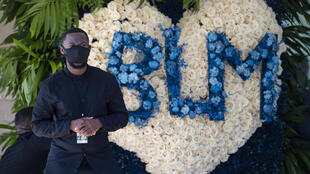 A 'Black Lives Matter' wreath, pictured as the casket of George Floyd arrives at the Fountain of Praise church in Houston