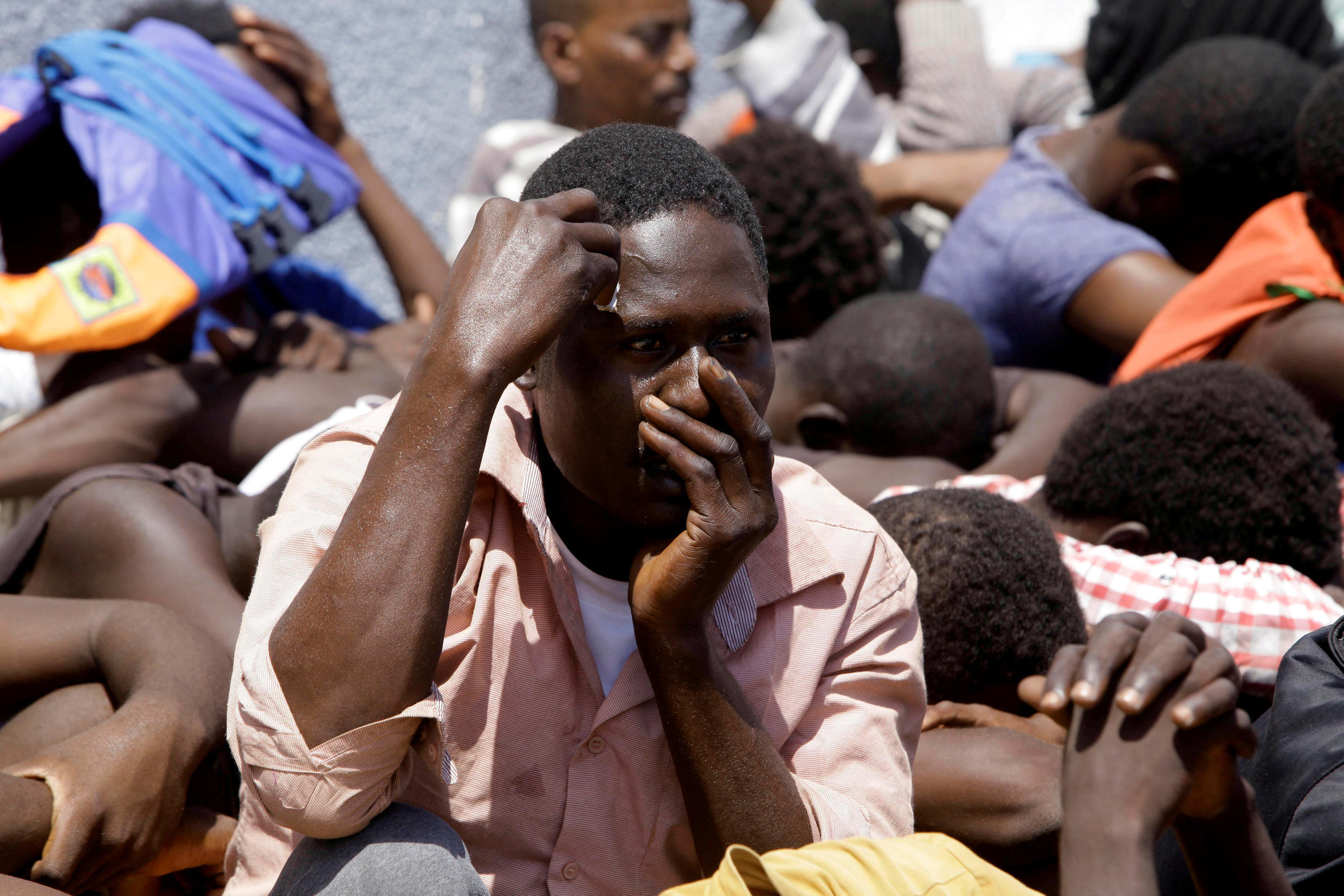 Some of those being held by the Libyan authorities at the Tajoura detention centre for suspected illegal migrants.