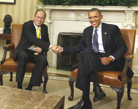 Tổng thống Mỹ Barack Obama tiếp đồng nhiệm Philippines Benigno Aquino tại Nhà trắng (Reuters)